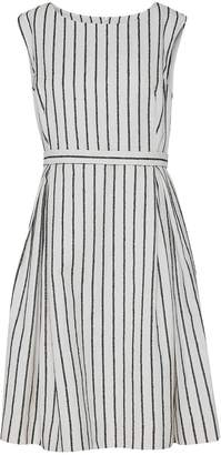 Mcverdi Striped White Fitted Dress With Boat Neckline