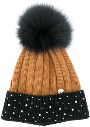 Miss Blumarine Colour-Block Beanie Hat