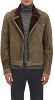 Brunello Cucinelli Men's Shearling-Lined Leather Moto Jacket-BROWN