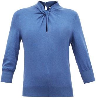 Erdem Rumer Twisted-neckline Cashmere-blend Sweater - Womens - Blue