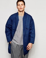 Asos Super Longline Denim Jacket With Chunky Zip