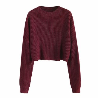 ZAFUL Women's short cropped long sleeve solid sweater pullover. - Red - M
