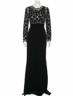 Dolce & Gabbana Lace Pattern Long Dress Black