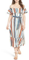 Moon River Women's Stripe Off The Shoulder Midi Dress