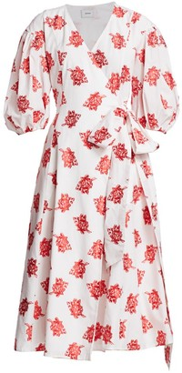 Erdem Marguerite Rose Cotton Fil Coupe Puff Sleeve Midi Wrap Dress