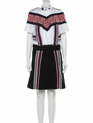 Sacai Striped Knee-Length Dress White