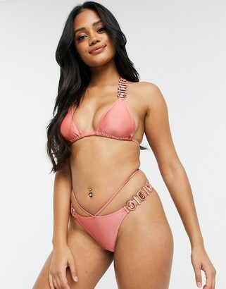 Candypants embellished high leg bikini bottom in pink