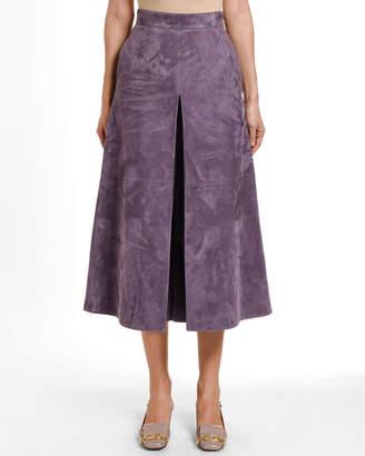 Valentino Suede Pleated Midi Skirt