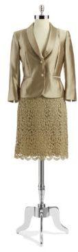 Tahari ARTHUR S. LEVINE Petite Two-Piece Blazer and Lace Pencil Skirt Set