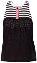 Monreal London Striped Stretch-jersey And Mesh Top - Black