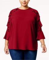 Monteau Trendy Plus Size Ruffled Blouse