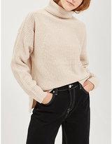 Topshop Roll-neck ribbed-knit jumper