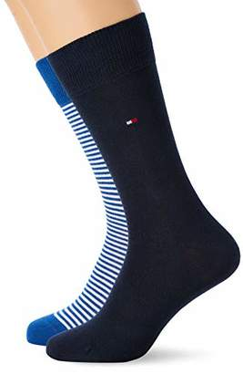 Tommy Hilfiger Men's Th Men Small Stripe Sock 2P Slim Socks pack of 2, Grau (Anthracite 201), 6/8 UK (Manufacturer Size: 39-42 )