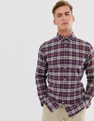 Selected brushed check shirt in slim fit-Red