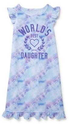Children's Place The Girls' short sleeve 'world's best daughter' pajama nightgown (little girl & big girl)