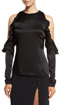 Cushnie et Ochs Ruffled Cold-Shoulder Satin Blouse, Black