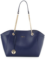 Furla Julia Medium Leather Tote Bag, Navy