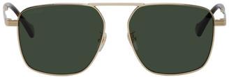 Gucci Gold Square Aviator Sunglasses