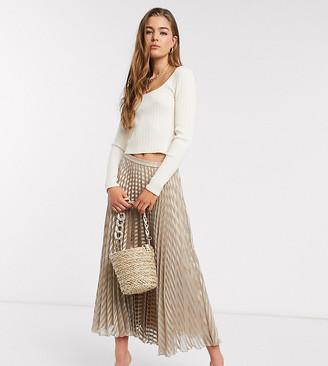 Asos Tall ASOS DESGIN Tall self stripe midi satin pleated skirt in beige