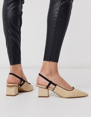 Asos Design DESIGN Steele slingback block heels in natural weave