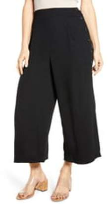 Leith High Waist Side Button Crepe Pants