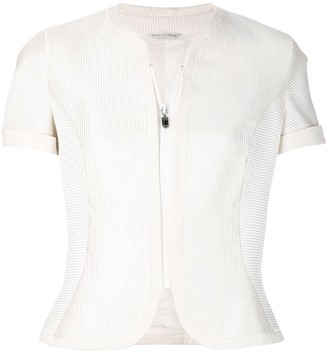 Versace Pre Owned Ribbed Zipped Blouse