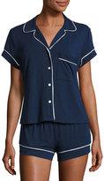 Eberjey Gisele Boxer-Short Jersey Pajama Set, Navy/Ivory