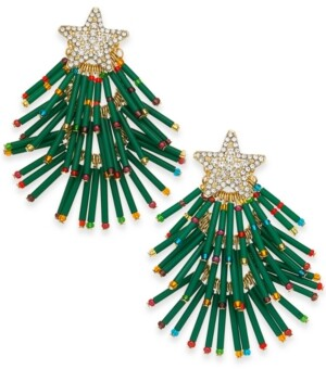 INC International Concepts Inc Gold-Tone Pave & Multicolor Bead Holiday Tree Drop Earrings, Created for Macy's