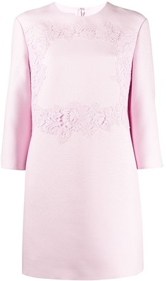 Valentino floral lace detail short dress