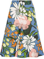 Marni Floral-print Cotton And Linen-blend Faille Midi Skirt - Blue