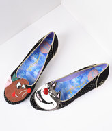 Irregular Choice Black & Gold Dotted Lucifer & Gus Cinderella Flats Shoes