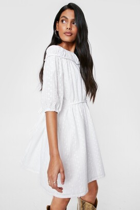 Nasty Gal Womens brodierie tie back mini smock dress - White - 4, White