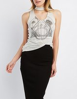 Charlotte Russe Choker Neck Graphic Tank Top