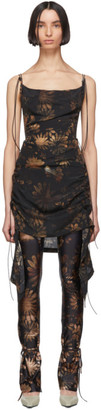 Charlotte Knowles SSENSE Exclusive Black and Beige Coil Short Dress