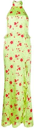 De La Vali floral-print halterneck dress