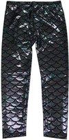 Simplicity Girls Mermaid Fish Scale Print Full Length Leggings Pants
