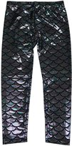 Simplicity Kids Mermaid Fish Scale Print Full Length Leggings Pants