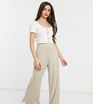 Asos DESIGN Petite wide leg pants in grid check print