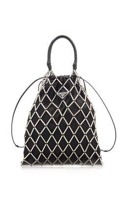 Prada Net-Detailed Nylon Drawstring Top Handle Bag