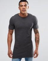 Asos Longline Muscle Fit Knitted T-Shirt in Khaki Twist