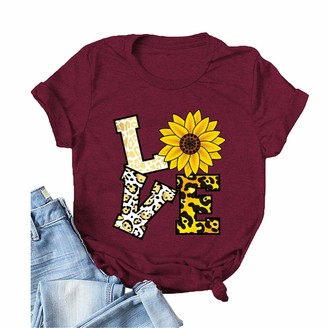 Ymydyfc Women T Shirt Letter Printed Summer Tee Top Loose Casual Graphic Plus Size Short Sleeve Tops Cotton Crew Round Neck Wine