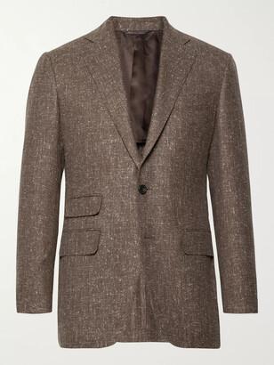 Thom Sweeney Brown Slim-Fit Slub Wool-Blend Blazer