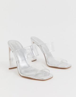 ASOS DESIGN Hayward clear block heeled mule