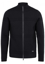 Armani Collezioni Navy Textured Wool Blend Zipped Jumper