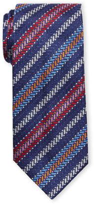 Missoni Blue Stripe Texture Silk Tie