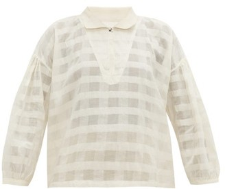Story mfg. Amber Striped Organic-cotton Blouse - White
