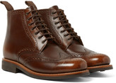 Grenson - Sharp Burnished Pebble-grain Leather Brogue Boots