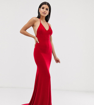 Club L London Tall cross back fishtail maxi in red