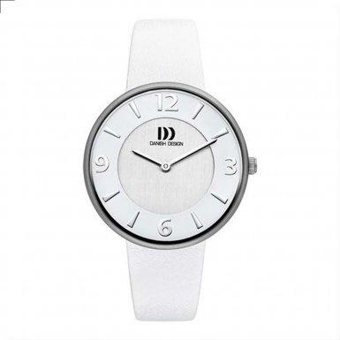 Danish Design (ダニッシュ デザイン) - デンマークデザインiv12q1017チタンケースホワイトレザーバンドシルバーダイヤルレディース腕時計