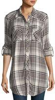 Tolani Tina Plaid Embroidered-Back Tunic, Plus Size